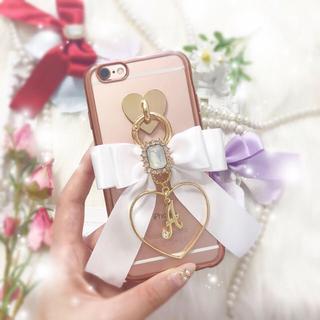 Rose Metalケース♡ガーリーサテンリボン×ハート×イニシャルチャーム♡(iPhoneケース)