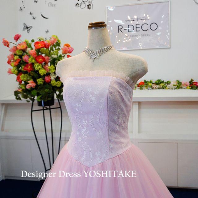 ウエディングドレス パステルピンクロングトレーン 披露宴 レディースのフォーマル/ドレス(ウェディングドレス)の商品写真