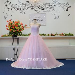 ウエディングドレス パステルピンクロングトレーン 披露宴(ウェディングドレス)