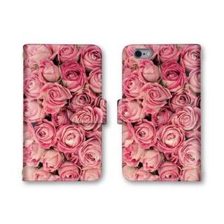 薔薇 花柄 ピンク スマホケース 大人可愛い 手帳型ケース 送料無料 バラ(スマホケース)