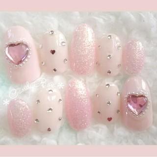 乳白色ピンクの曖昧カラーとキラキラシュガー