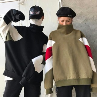 2枚 配色 ハイネックパーカー 今季流行 男女兼用(パーカー)