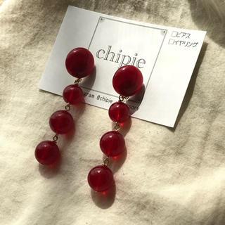 ケービーエフ(KBF)の再∞販 clear red ball pierce / earring(ピアス)