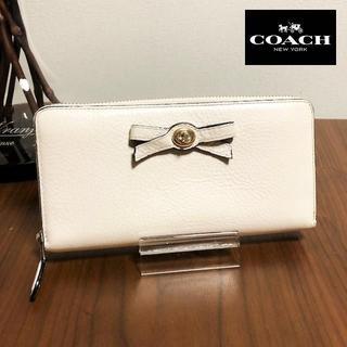 コーチ(COACH)の送料無料 コーチ 長財布 ラウンドファスナー リボン 白 F53415 M009(財布)