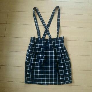 シマムラ(しまむら)のサロペ  スカート  ブラック×ホワイト  チェック  L(サロペット/オーバーオール)