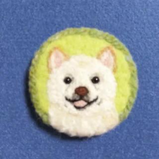 羊毛フェルトブローチ 柴犬 白柴