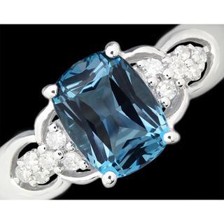 ブルートパーズ ダイヤ リング 指輪 K14WG 濃い 上品 15号(リング(指輪))