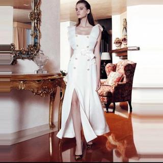 ザラ(ZARA)のデザインベルト フリルボタン スリットワンピース ドレス 高級海外インポート(ロングワンピース/マキシワンピース)