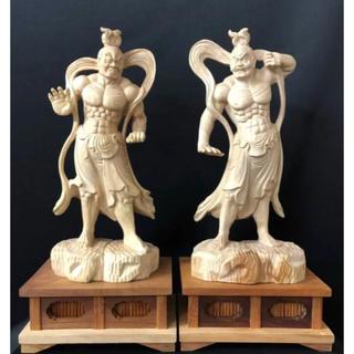 ケヤキ材 大型 大迫力白欅木 井波彫刻  一刀彫 木彫仏像 仁王像 阿吽像(彫刻/オブジェ)