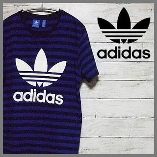 アディダス(adidas)のadidas Tシャツ Men's L 紺、青 のボーダー(Tシャツ/カットソー(半袖/袖なし))