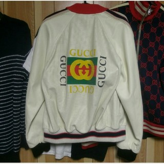 グッチ(Gucci)のグッチ ロゴ レザージャケット GUCCI シャツ キャップ ジャージ(レザージャケット)