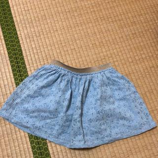 ジーユー(GU)のGUkids水色レースミニスカートインナーショーパン付き☆110センチ(スカート)