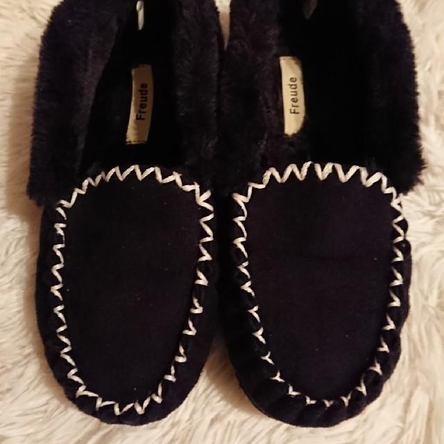 しまむら(シマムラ)のファーモカシン しまむら Sサイズ ブラック レディースの靴/シューズ(スリッポン/モカシン)の商品写真