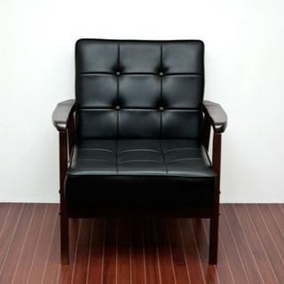 レトロソファ レザー 一人掛け 【ブラック】(ロッキングチェア)