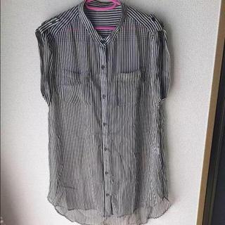 ジーユー(GU)の新品 GU ストライプ柄 ノースリーブ シャツ(シャツ/ブラウス(半袖/袖なし))
