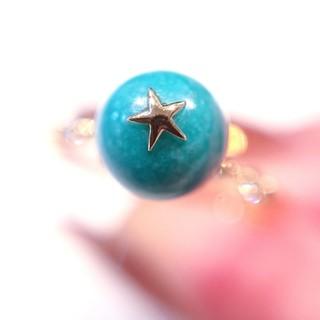 スタージュエリー(STAR JEWELRY)のにゃんこ日和様専用✨18金 ターコイズ ダイヤモンド リング 7号 誕生石(リング(指輪))