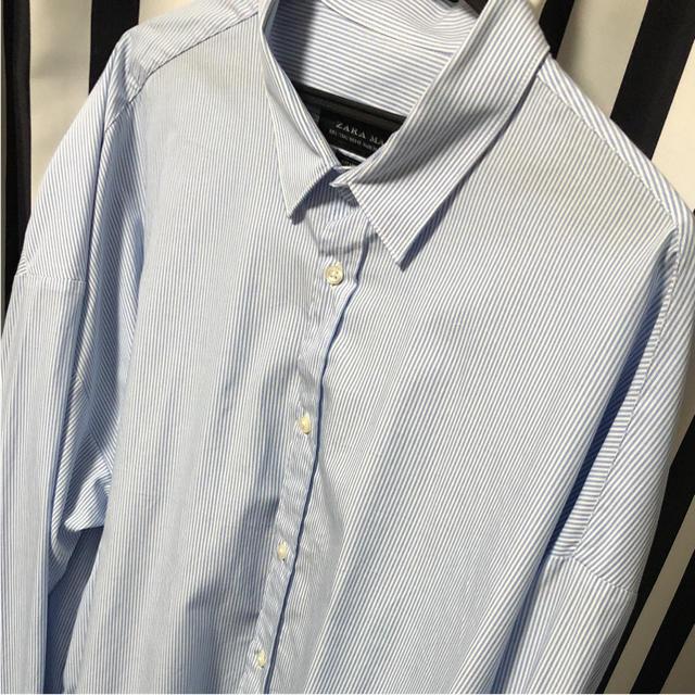 ZARA(ザラ)のZARA オーバーサイズ ビックサイズ ストライプ シャツ Lサイズ メンズのトップス(シャツ)の商品写真