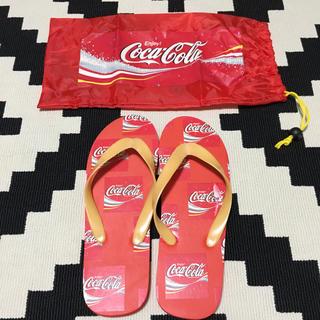 コカコーラ(コカ・コーラ)のコカコーラ ビーチサンダル 非売品 ナイロン袋付 レア 希少 ノベルティ(ビーチサンダル)