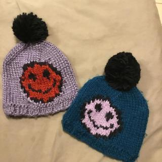 バハスマイル(BAJA SMILE)のニコちゃん スマイルニット帽 2枚セット(帽子)