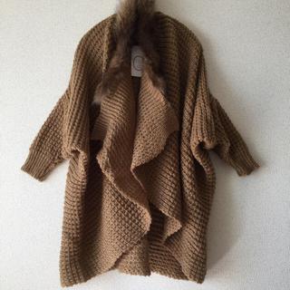 ナンバーヨンジューヨン(n°44)の新品 リアルファー付き 素敵なニットコート(ニット/セーター)