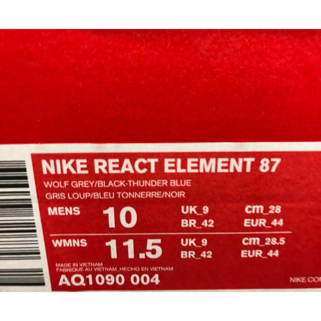 NIKE(ナイキ)のNIKE REACT ELEMENT 87 28 US10 ナイキ リアクト メンズの靴/シューズ(スニーカー)の商品写真