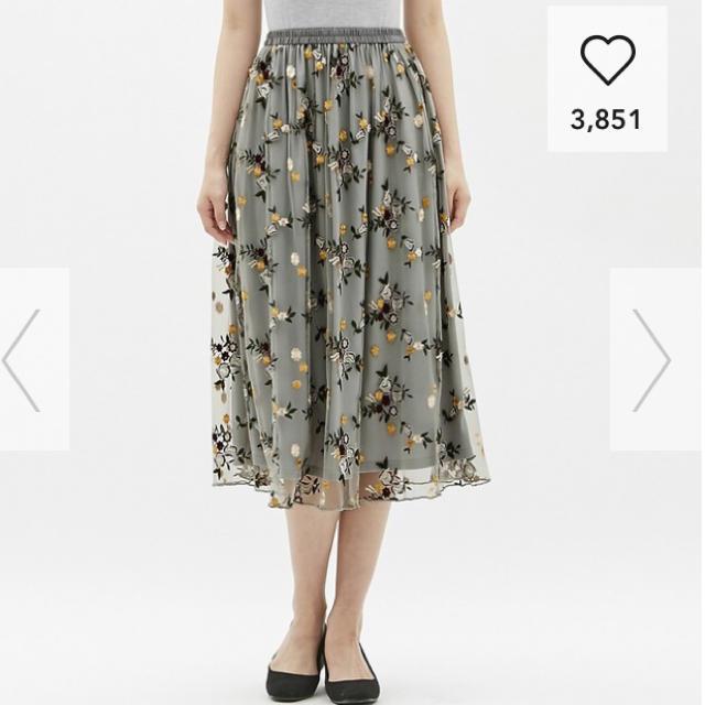 GU(ジーユー)のGUエンブロイダリーフレアロングスカート♡刺繍♡超大型店限定 レディースのスカート(ロングスカート)の商品写真