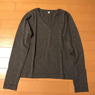ムジルシリョウヒン(MUJI (無印良品))の無印良品 Vネックセーター チャコールグレー レディースS(ニット/セーター)