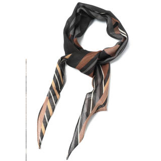 アルテア(ALTEA)のAltea アルテア ウールシルク ストライプ柄 菱形ネッカチーフ / ブラック(バンダナ/スカーフ)