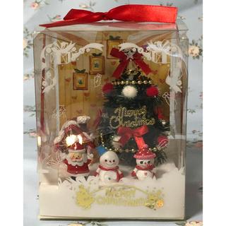 ディズニー(Disney)の( 美品 ) 光るクリスマスツリー と サンタ と 雪だるま  メロディー付き(置物)