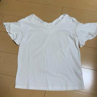 GU - gu Tシャツ 半袖 トップス フリル