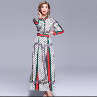 ef9babdde6182 ザラ(ZARA)のストライプ GG デザイナー ワンピース ドレス 高級海外インポート(ロングワンピース