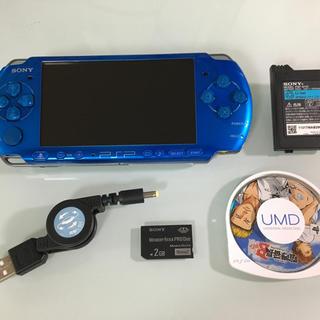 プレイステーションポータブル(PlayStation Portable)の美品 PSP-3000 バイブラントブルー(携帯用ゲーム本体)