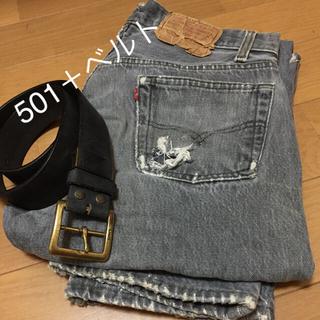 ゴーマルイチ(501)のLevi's (リーバイス) BLACK 501 ジーンズ 革ベルトのセット (デニム/ジーンズ)