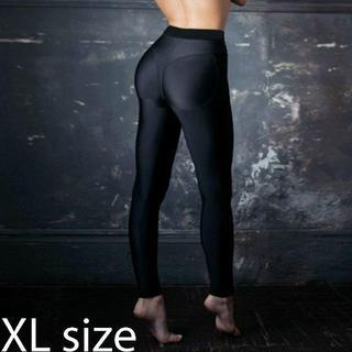 Tバック柄 美尻美脚 レギンス トレーニング パンツ ブラック 黒 XLサイズ(レギンス/スパッツ)