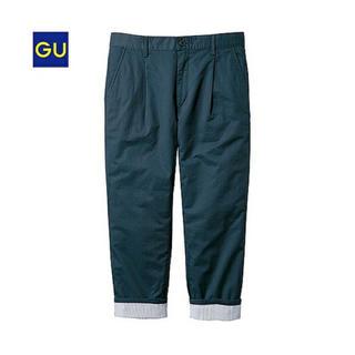 ジーユー(GU)の新品 GU タッククロップドパンツ ネイビー S メンズ(ワークパンツ/カーゴパンツ)