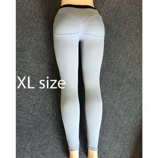 Tバック柄 美尻美脚 レギンス トレーニング パンツ グレー 灰色 XL サイズ(レギンス/スパッツ)