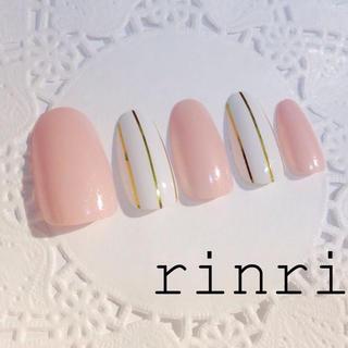 ストライプネイル(ピンク)