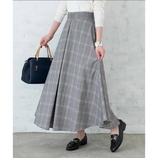 ティアンエクート(TIENS ecoute)のグレンチェックフレアスカート 新品(ロングスカート)