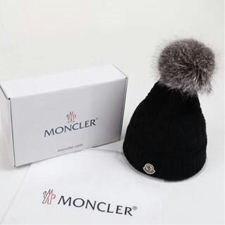 モンクレール(MONCLER)のMONCLER モンクレール ロゴニット帽ブラック(ニット帽/ビーニー)