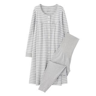 新品   無印良品  脇に縫い目のないソフトスムース授乳に便利な長袖パジャマ