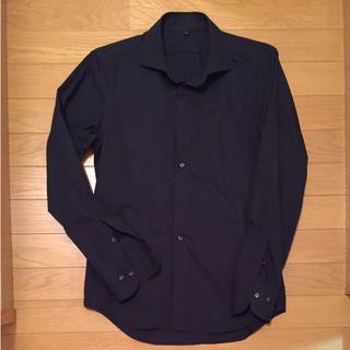 MUJI (無印良品) - 無印良品 オーガニックコットンブロード形態安定セミワイドカラーシャツ ネイビー