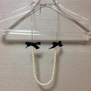 プライドグライド(prideglide)の【美品】プライドグライド  リボン付きパールネックレス(ネックレス)