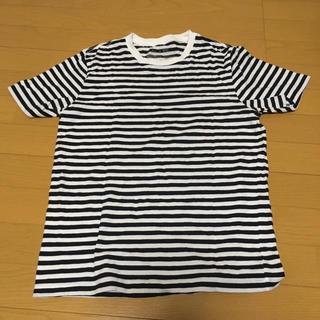 ムジルシリョウヒン(MUJI (無印良品))のオーガニックコットンボーダーTシャツ 紳士S・オフ白×ボーダー(Tシャツ/カットソー(半袖/袖なし))
