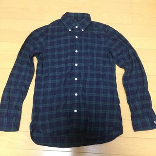 MUJI (無印良品) - オーガニックコットンフランネルチェックボタンダウンシャツ紳士XS・ダークグリーン