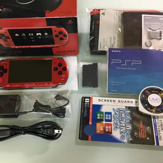 プレイステーションポータブル(PlayStation Portable)の新品同様 PSP-3000 レッド/ブラック(携帯用ゲーム本体)
