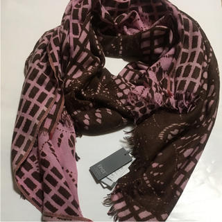 EPICE ピンク 花柄 シルク カシミア 混 ウール ストール