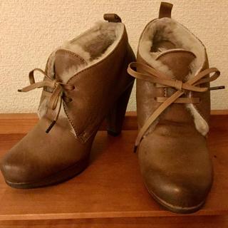 アトリエブルージュ(atelier brugge)の☆ 新品!☆アトリエブルージュ  ムートンブーティ 本革ショートブーツ 23(ブーツ)