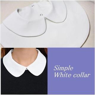 付け襟 襟先丸 ラウンド 白つけ襟 シャツ 丸襟 衿 ブラウス ホワイト(つけ襟)