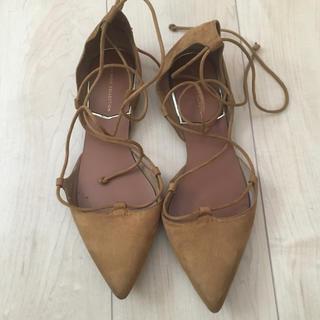 ザラ(ZARA)のザラ レースアップ バレーシューズ 靴 38  茶色(バレエシューズ)