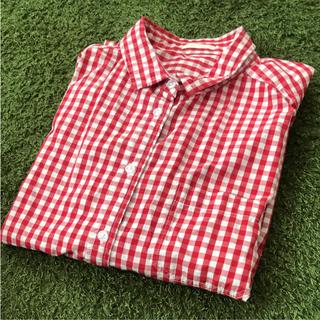 ジーユー(GU)のジーユー ギンガムチェックシャツ L(シャツ/ブラウス(半袖/袖なし))